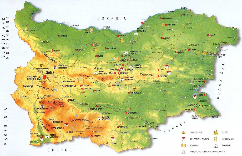 bulgarien physische karte Bulgarien in Karten   ein Link Atlas
